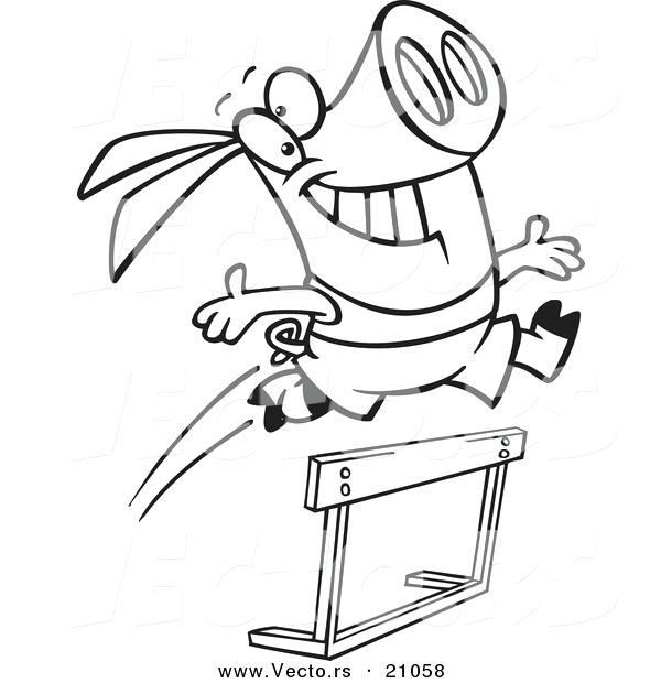 600x620 Track And Field Coloring Pages Vector Of A Cartoon Pig Leaping