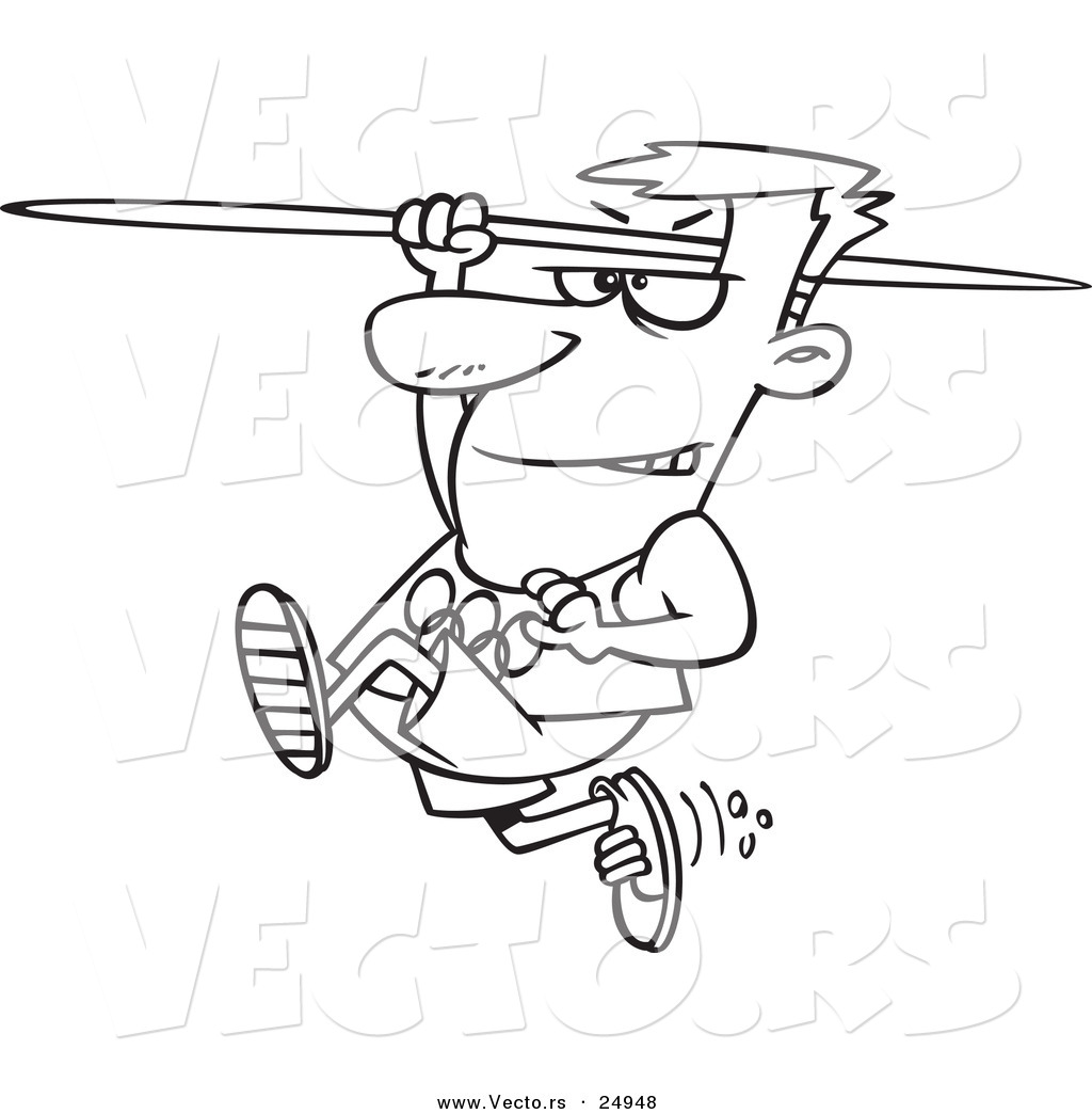 1024x1044 Vector Of A Cartoon Olympics Track And Field Javelin Thrower Man