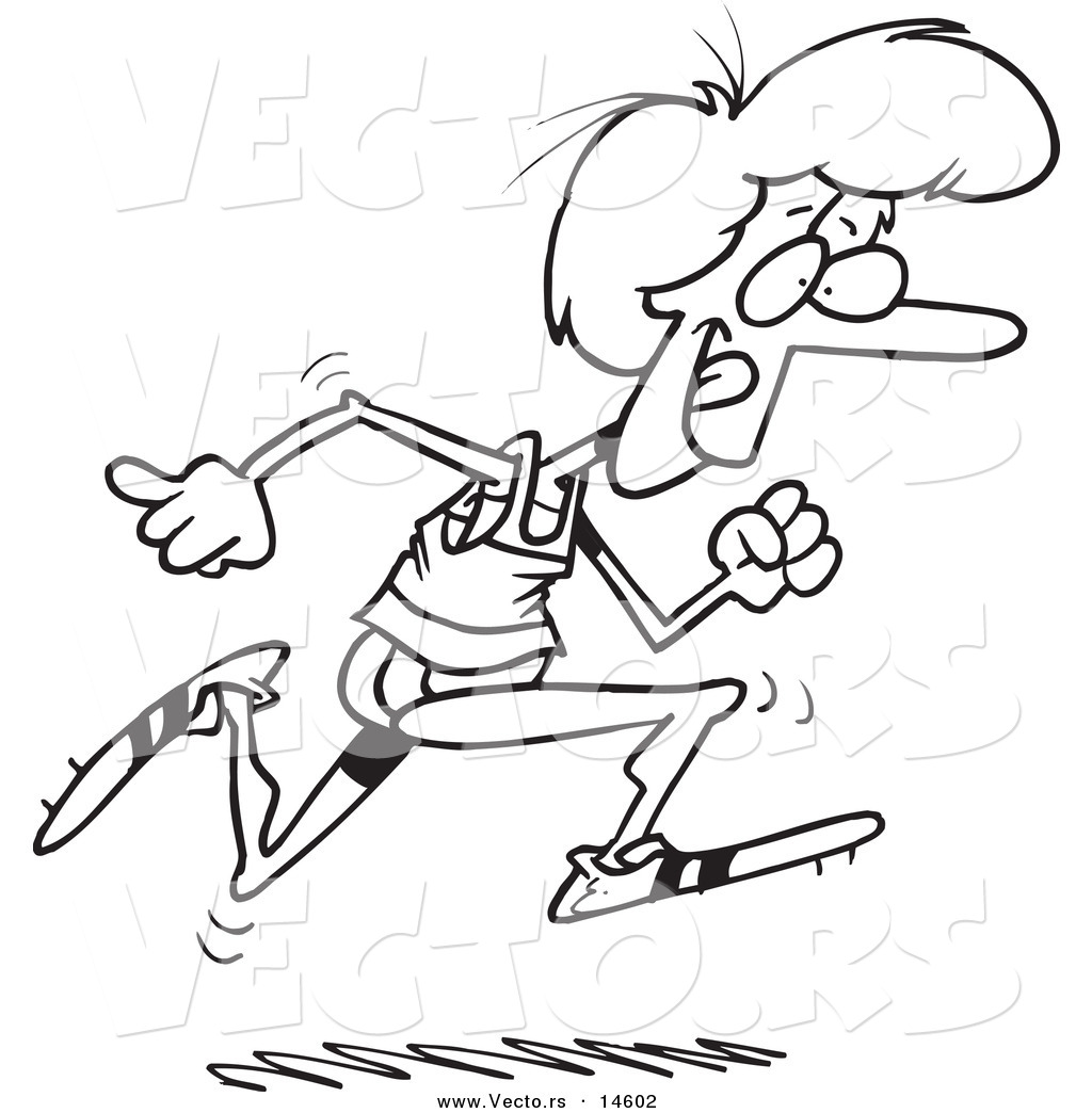 1024x1044 Vector Of A Cartoon Woman Running Track
