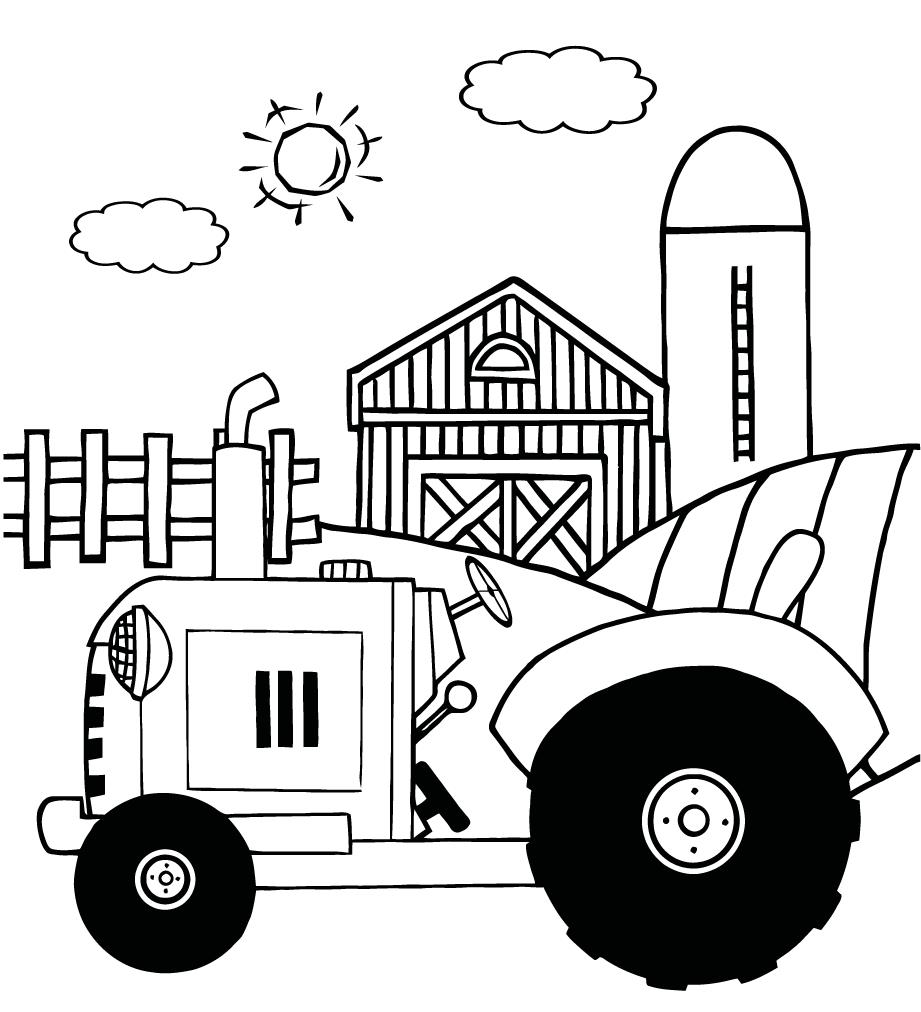 921x1012 Coloring Pages Of A Vintage Tractor In Front Of Country Farm