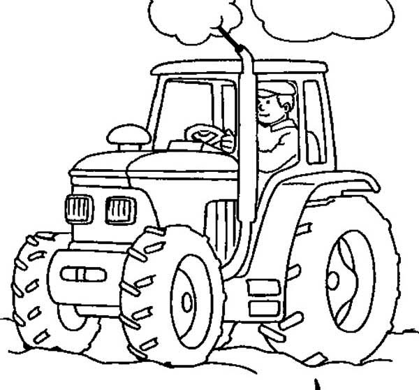 600x558 Farmer Working With Tractor Coloring Page