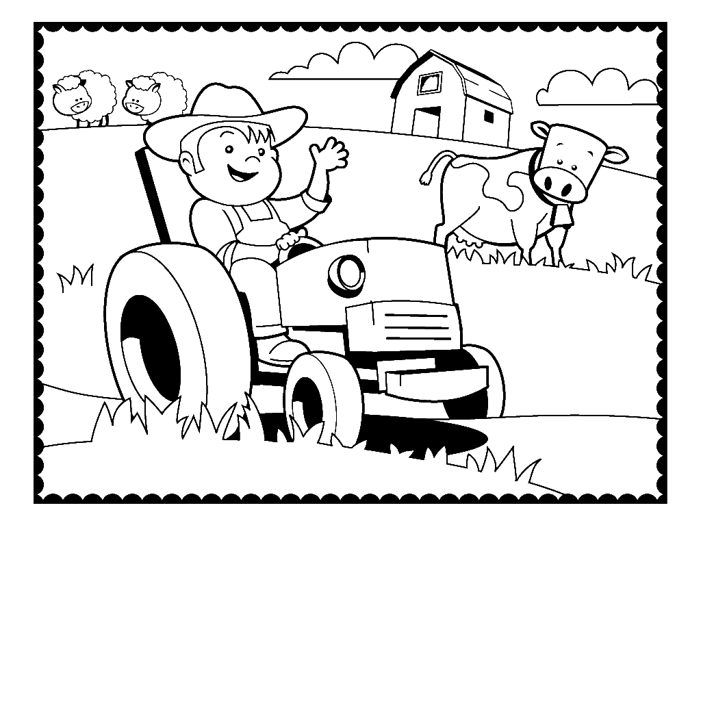 1024x1024 Tractor Coloring Pages Farmer Cow Of A Farm