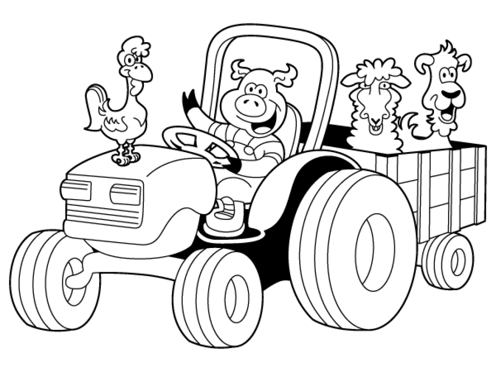 1024x768 Coloring Pages Tractor Coloring Book