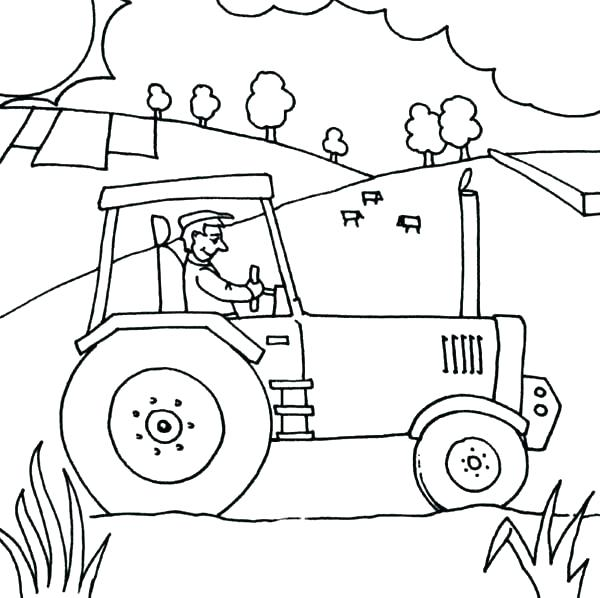 600x598 Tractor Coloring Pages For Toddlers Amazing And Of A Farm