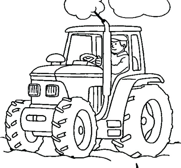 600x558 Tractor Coloring Pages Farmer Working With Tractor Coloring Page
