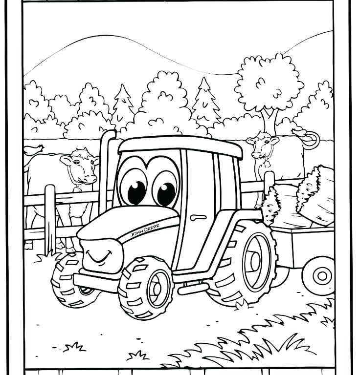 736x768 Tractor Trailer Coloring Pages Adult Cartoon Tractors Coloring