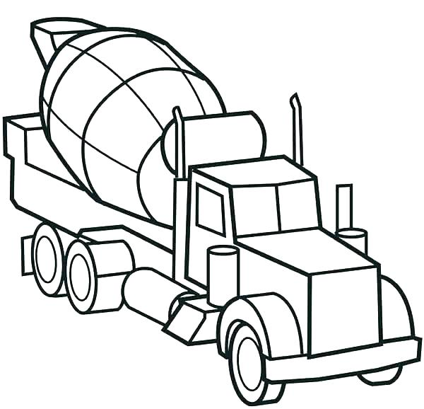 600x578 Semi Trailer Dump Truck Side View Coloring Page Kids Play Color