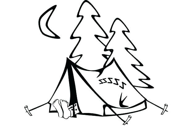 600x434 Camping Coloring Page Camping Coloring Page Instant Download