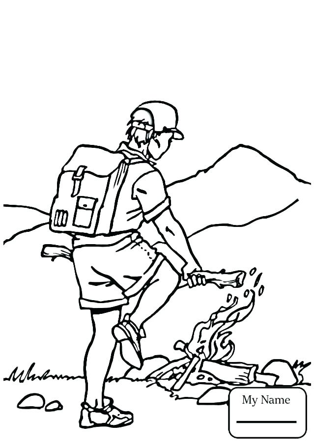 639x910 Camping Coloring Pages Girl Scout Picture To Color Best Camping