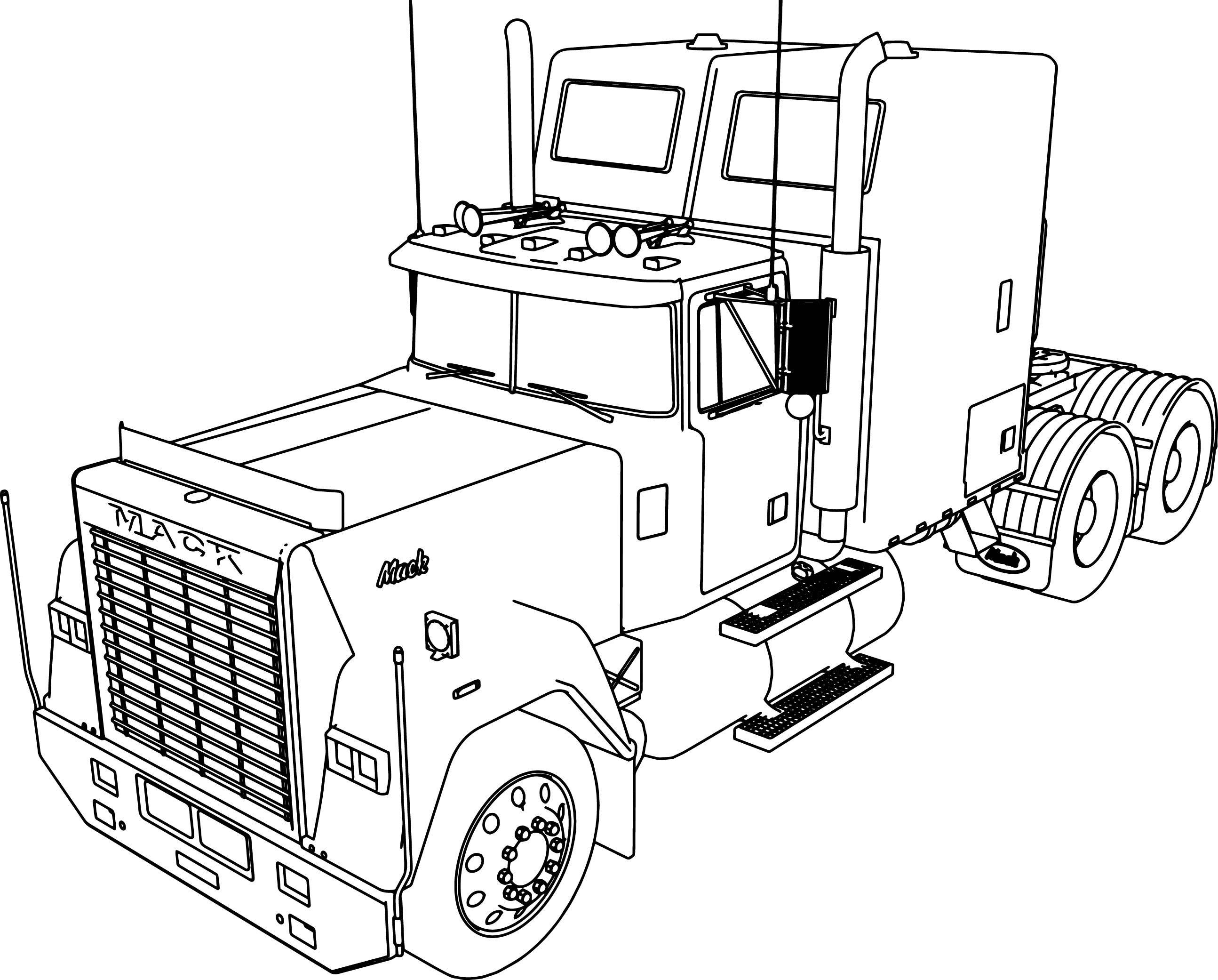 2589x2082 Mack Superliner Long Trailer Truck Coloring Page