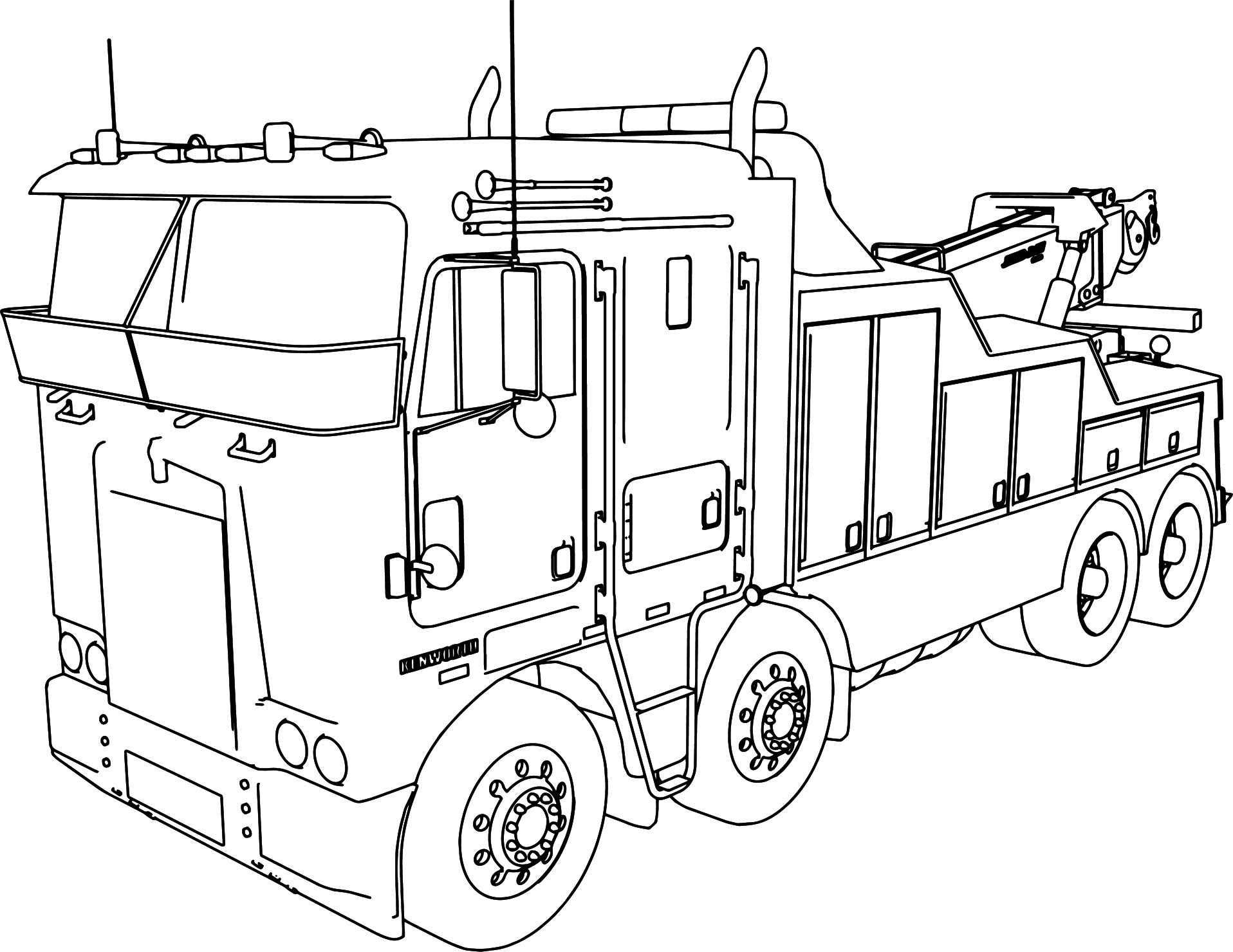 1916x1480 Truck And Trailer Coloring Pages Kenworth Wrecker Long Trailer