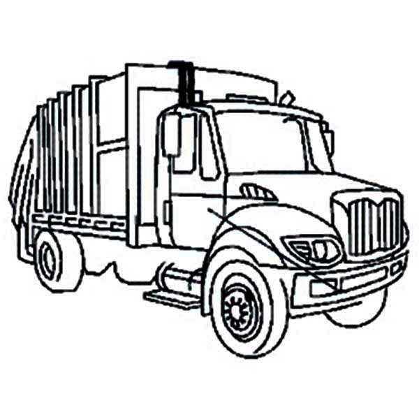 600x600 City Garbage Truck On Dump Truck Coloring Page Kids Play Color