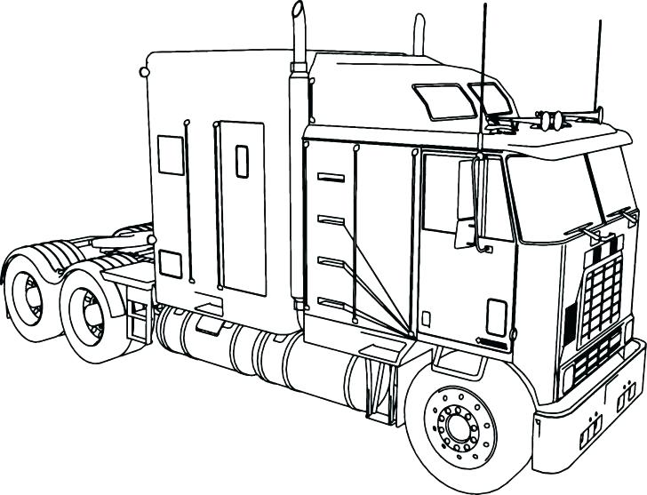 728x557 Semi Truck Coloring Page
