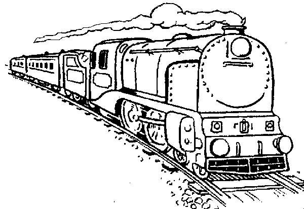 600x412 Long Steam Train Coloring Page