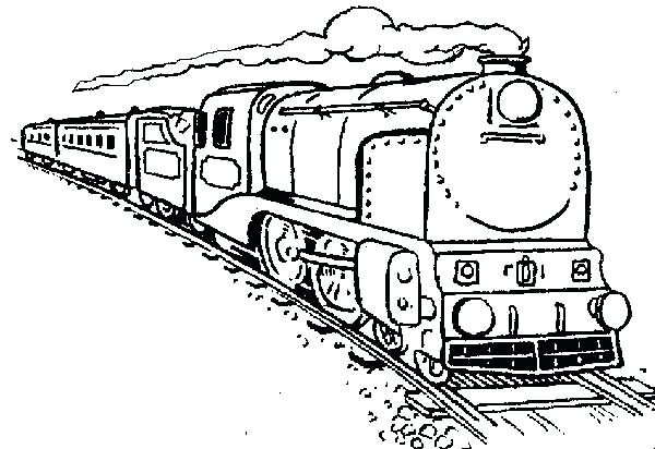 600x412 Coloring Pages Trains Long Steam Train Coloring Page Colouring