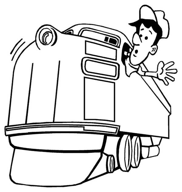 600x634 Train Engineer Looking For Railroad Coloring Page Color Luna