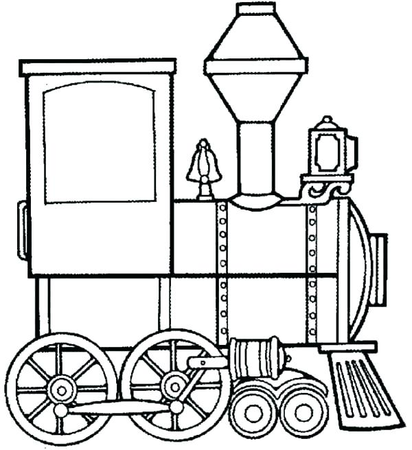 600x655 Surprising Train Engine Coloring Page