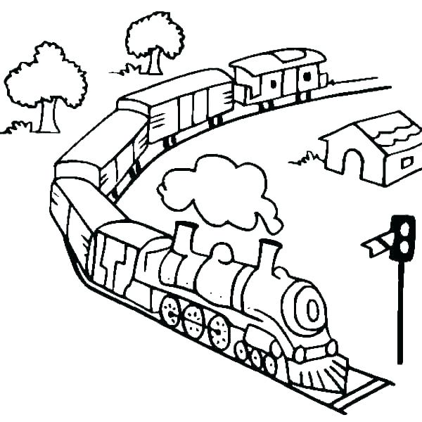 600x600 Train Engine Coloring Page