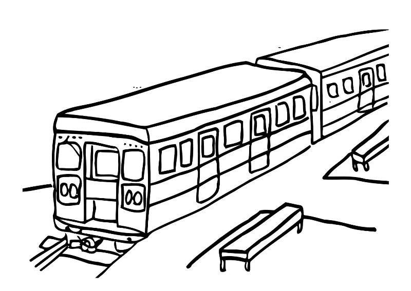 Train Station Coloring Pages