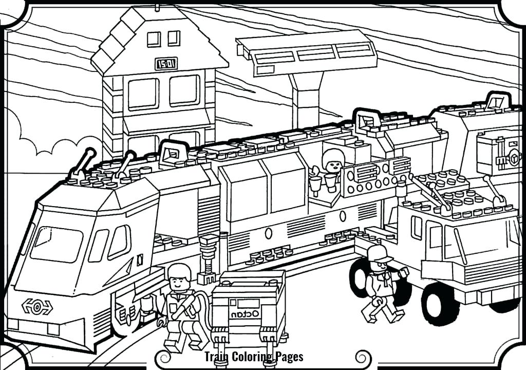1024x720 Lego Train Coloring Pages Train Coloring Pages Train Station Lego