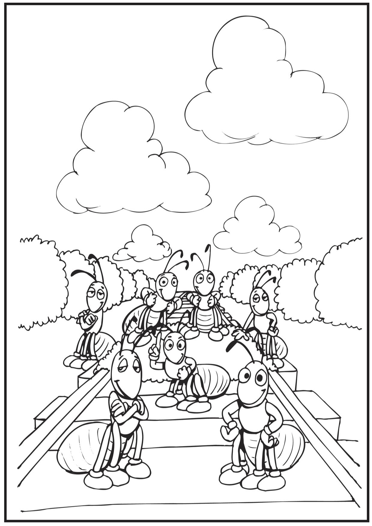 1239x1754 Ant Coloring Pages And Classroom Activities Train Track Coloring