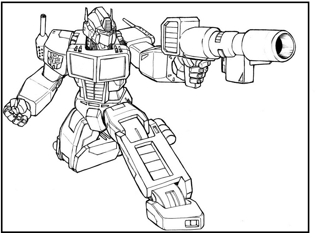 1024x746 Optimus Prime Transformers Coloring Picture For Kids Line Art
