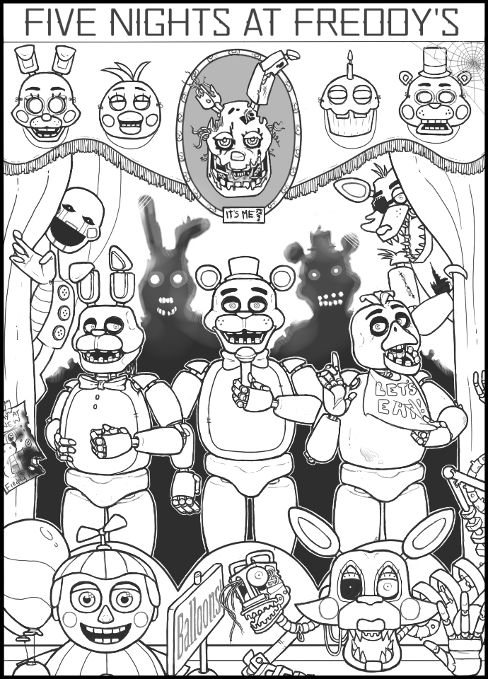 690x960 Bad Thoughts And Good Vibrations Fnaf Coloring Page For My