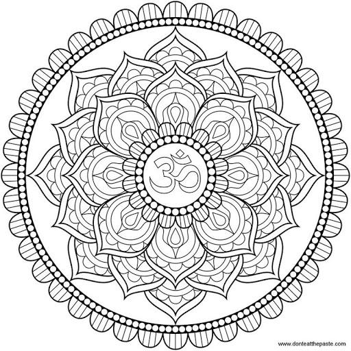 512x512 Art Mandala, Lotus And Om