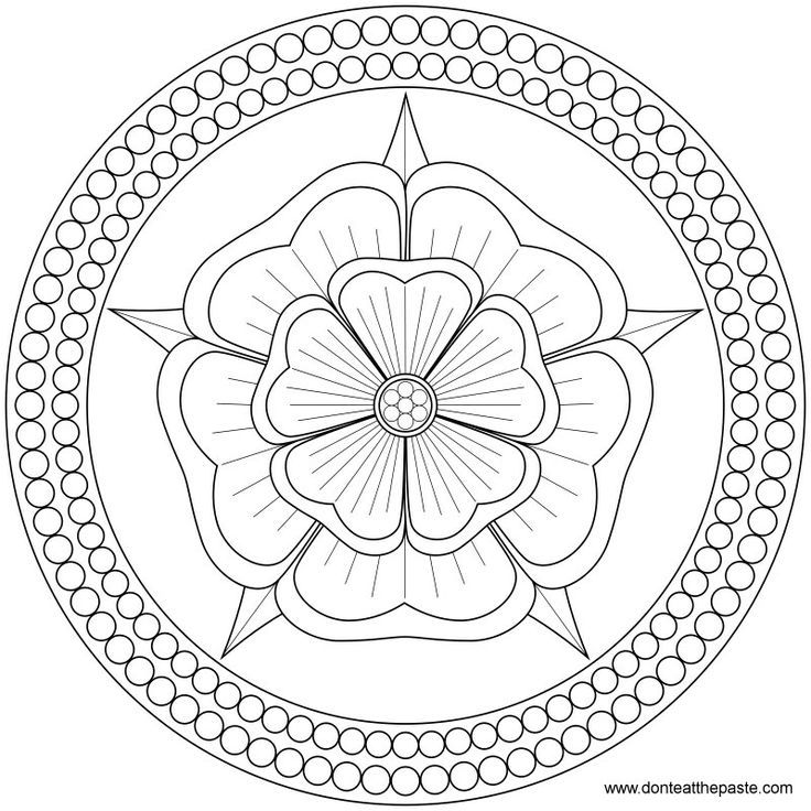 736x736 Rose And Pearls Mandala To Color Or Embroider Or Transparent