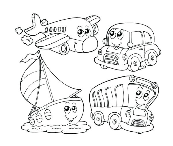 600x508 Vehicle Coloring Pages Kindergarten Kids Learn