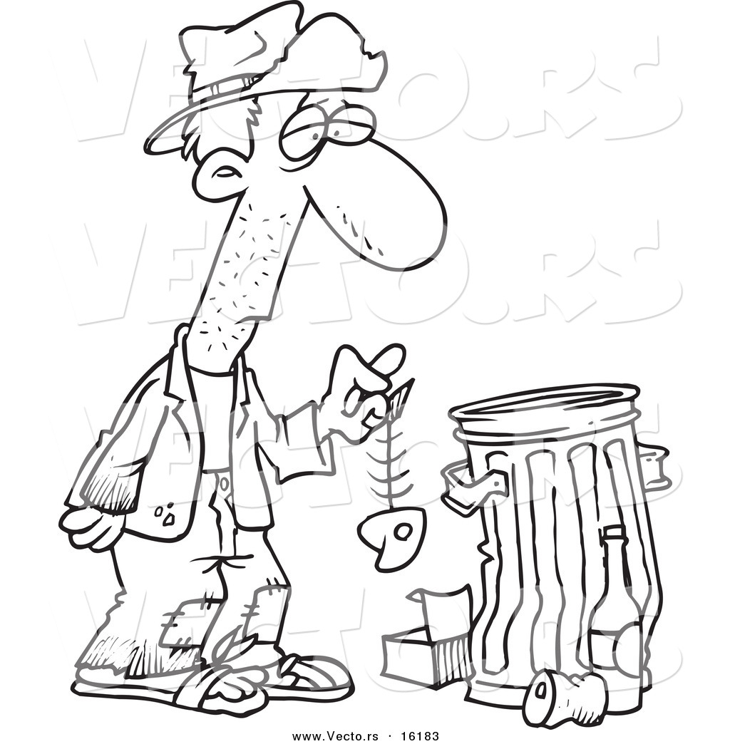 1024x1044 Vector Of Cartoon Hungry Homeless Man Holding Fish Bone