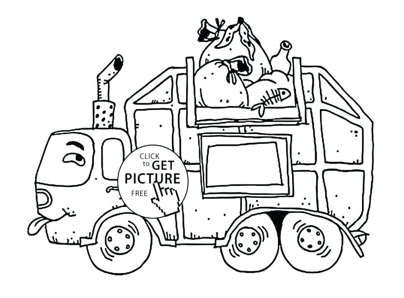 827x609 Coloring Garbage Truck Coloring