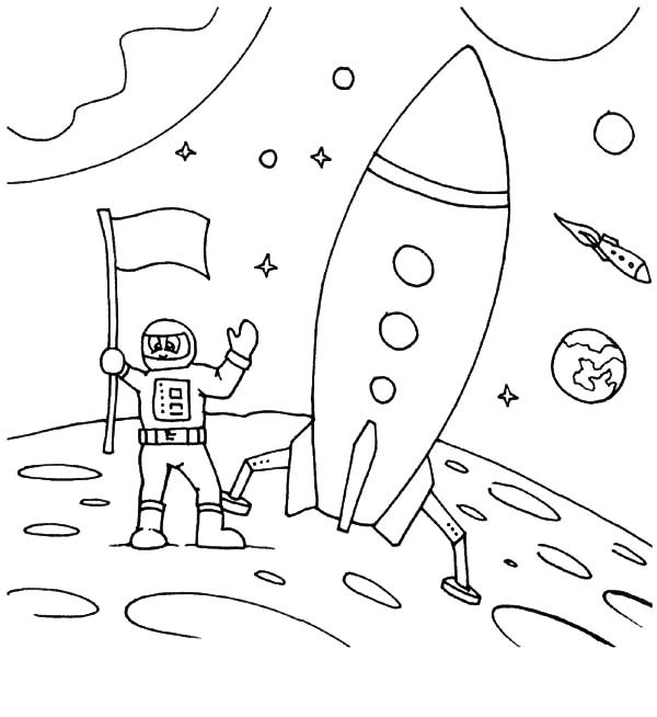 600x654 Astronaut Land On Moon Space Travel Coloring Pages Best Place