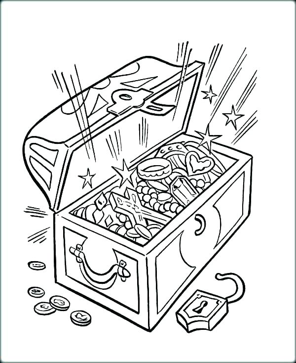 600x734 Treasure Chest Coloring Pages Empty Treasure Chest Coloring Page