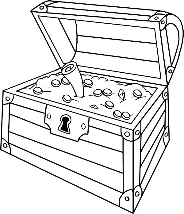 600x698 Treasure Chest Coloring Pages Ing Pirate Treasure Chest Colouring