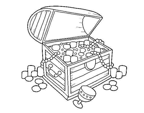 600x470 Treasure Chest Coloring Pages Treasure Chest Outline Drawing