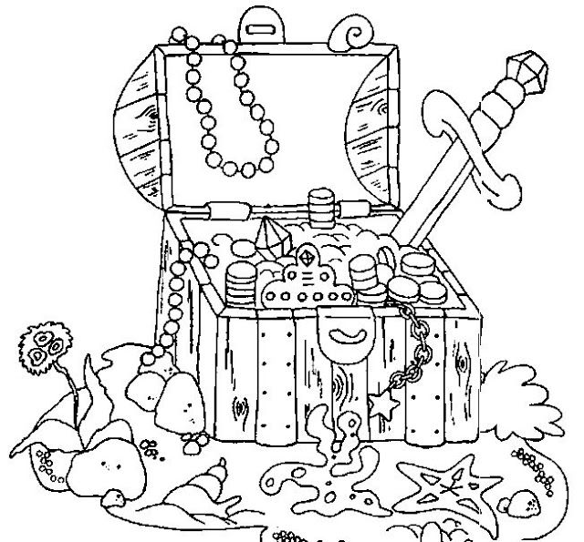 640x595 Pirate Treasure Chest Coloring Pages Pirate