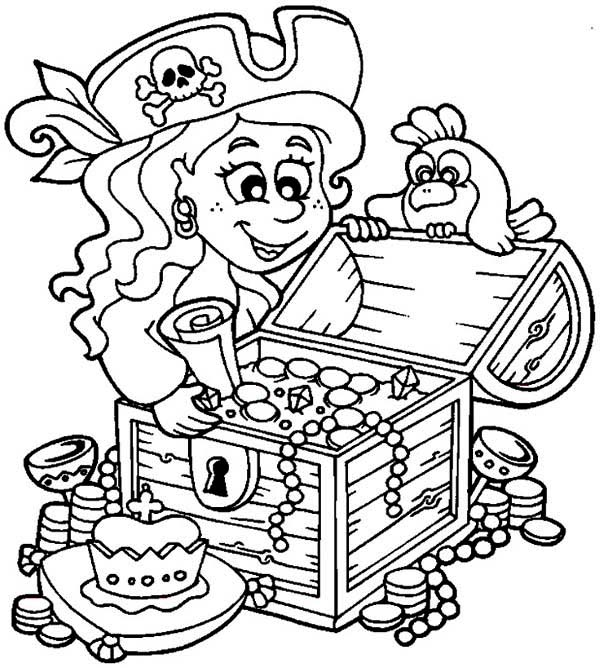 600x668 Treasure Chest, Little Pirate Girl And Her Treasure Chest