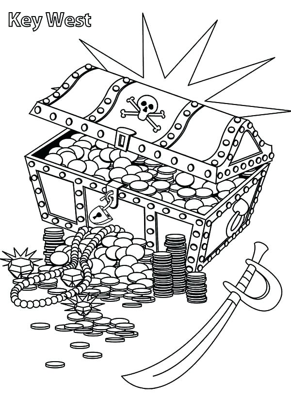 600x825 Treasure Chest Coloring Page Awesome Collection Of Treasure Chest