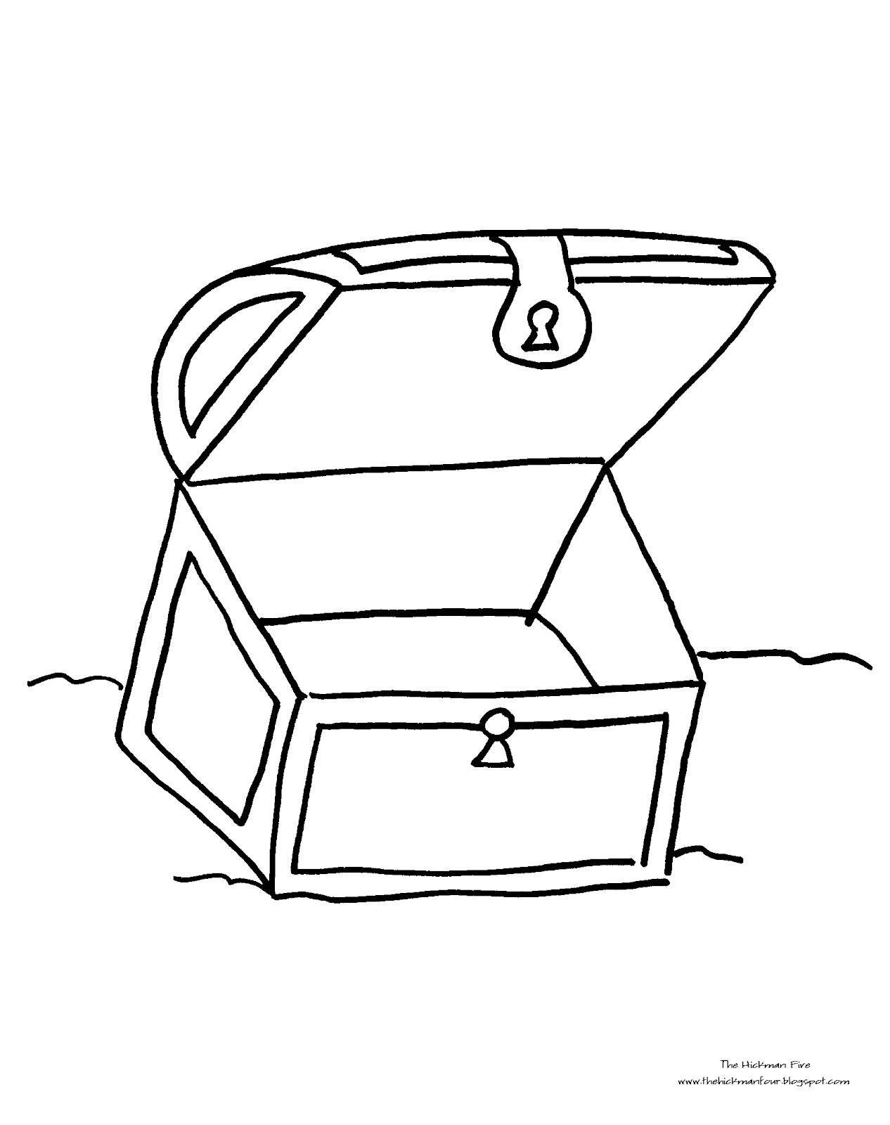 1266x1600 Empty Pirate Treasure Chest Coloring Page