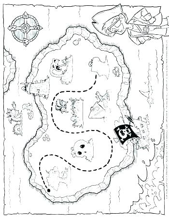 350x453 Map Coloring Pages Map Coloring Pages Treasure Map Coloring Page