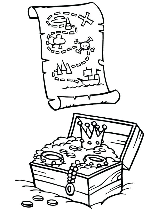 600x800 Treasure Map Coloring Pages Exciting Treasure Chest Coloring Page