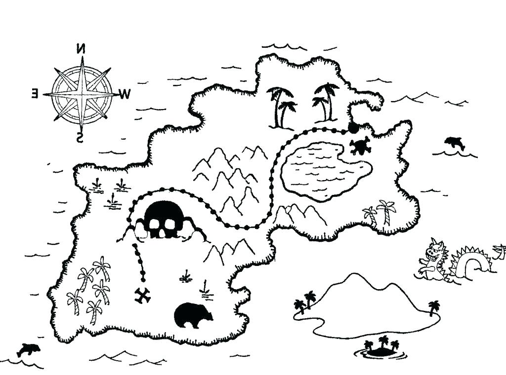 1024x760 Treasure Map Coloring Pages Pirate Map Coloring Page Treasure Map