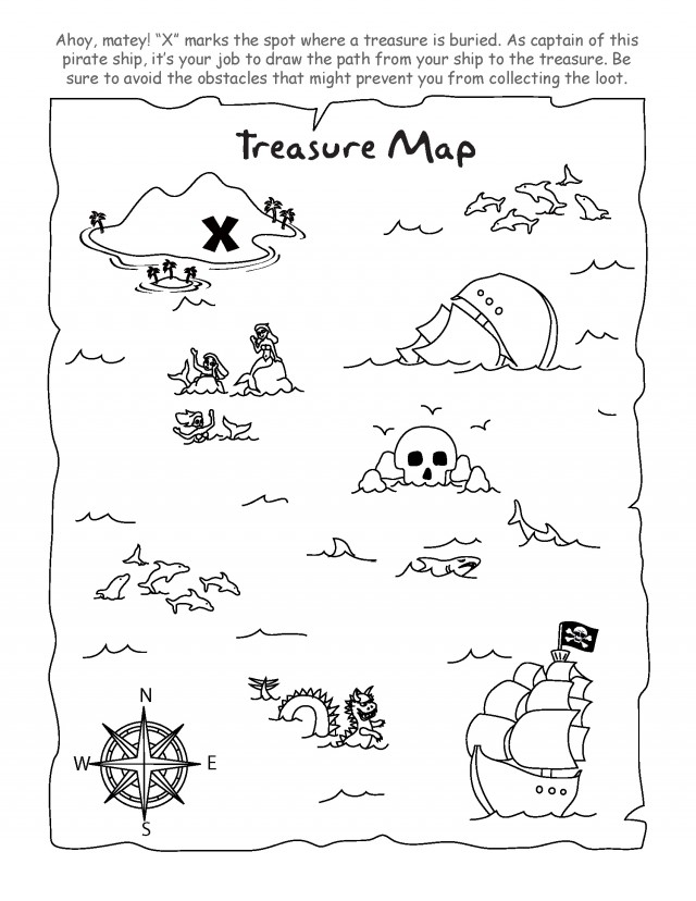 graphic about Free Printable Pirate Treasure Map called Treasure Map Coloring Site at  Cost-free for
