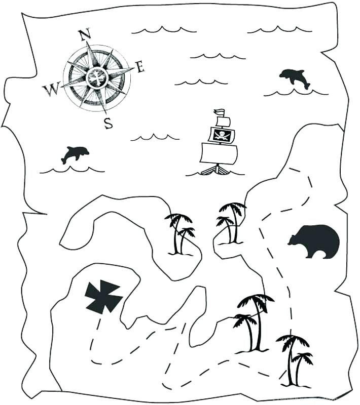 710x800 Treasure Map Coloring Pages Treasure Coloring Pages Pirate