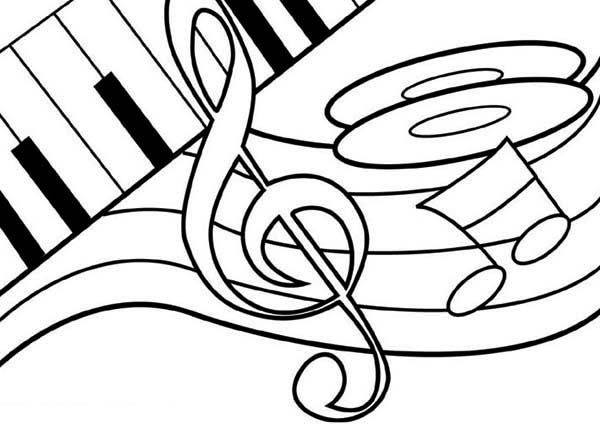600x425 Treble Clef Dancing On A Piano Coloring Page