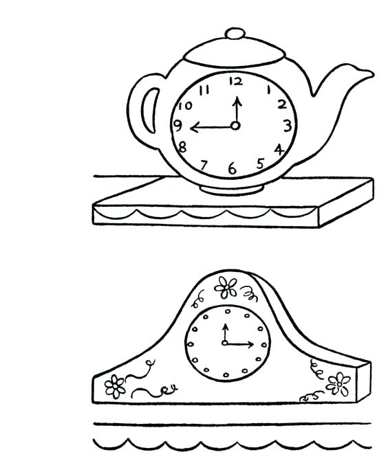 564x690 Clock Coloring Page Treble Clef Of Clock Coloring Page Wall Clock