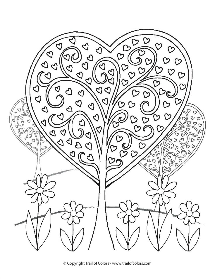 735x951 Heart Trees Valentines Day Coloring Page