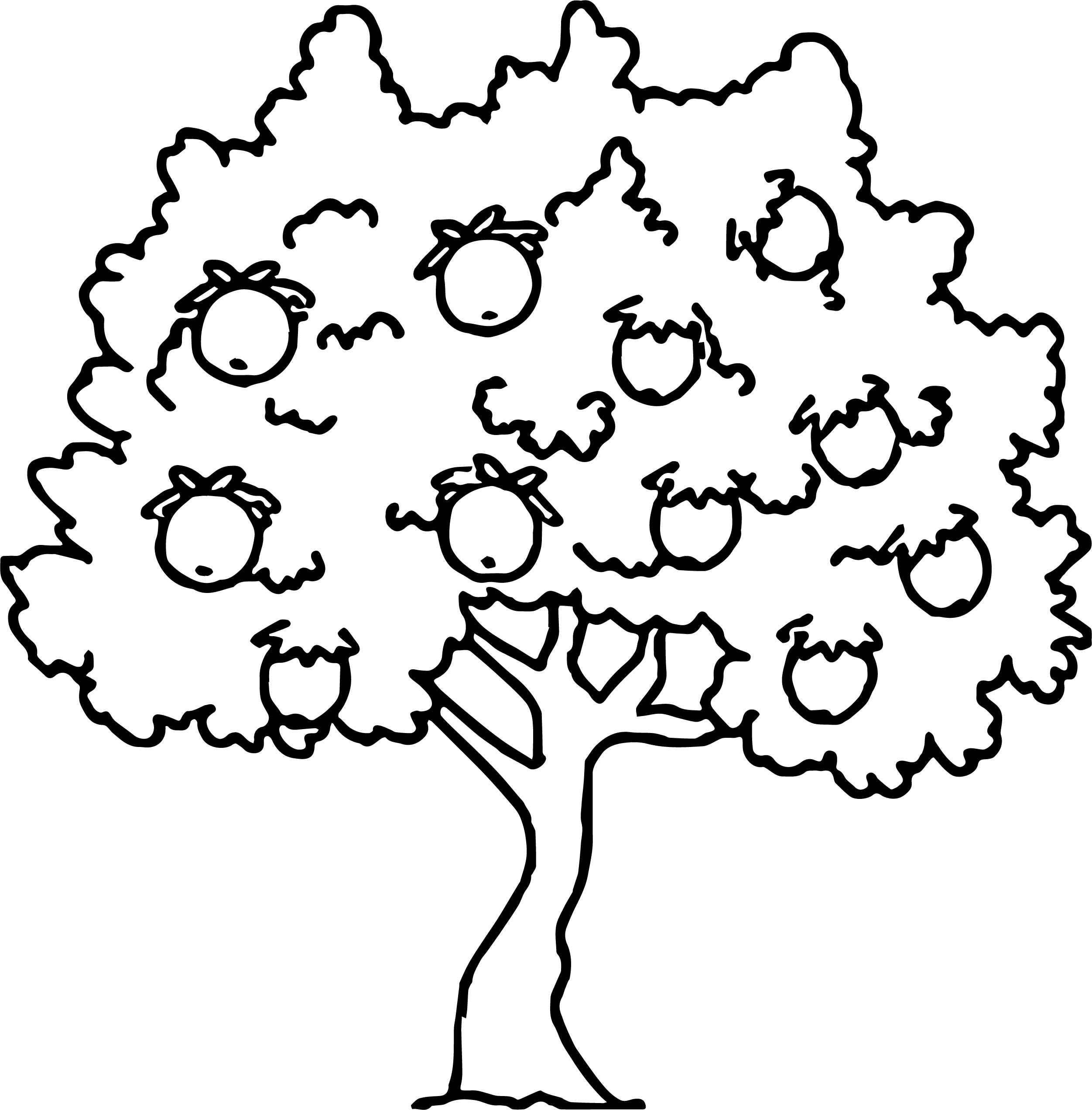 2503x2544 Too Much Apple Tree Coloring Page