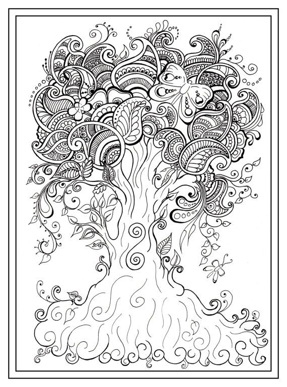 570x770 Adult Colouring In Pdf Download Tree Dragonfly Henna Zen Mandalas